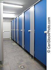 青, 浴室, 廊下, パターン, 屋内, ドア