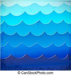 青, 海, 背景, 波