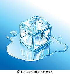 青, 溶けること, 立方体, 氷