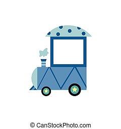 青, 漫画, 前部, 中, 列車, カート, 機関車, だれも, ライト