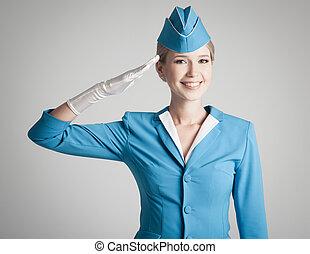 青, 灰色, 服を着せられる, ユニフォーム, スチュワーデス, 背景, 魅了