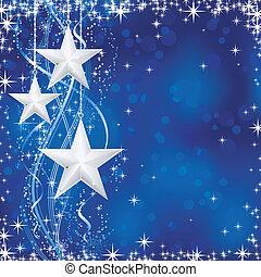 青, 点, 星, occasions., 冬, transparencies., ライト, お祝い, ライン, 雪, /, クリスマス, 波状, 薄片, いいえ, 背景, あなたの