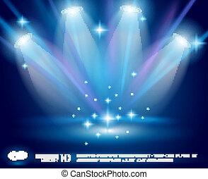 青, 白熱, 光線, マジック, スポットライト, 効果