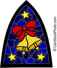 青, 窓。, クリスマス, 2, 金, ステンドグラス, 鐘