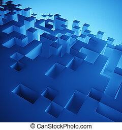 青, 立方体, 構成, 壁紙