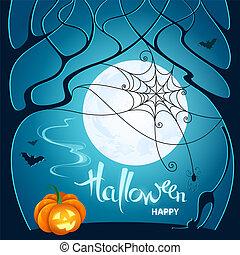 青, 網, ポスター, カード, カボチャ, くも, 木, ハロウィーン, 挨拶, イラスト, 月, 暗い, バックグラウンド。, ベクトル, コウモリ, 招待, パーティー, ねこ, night.