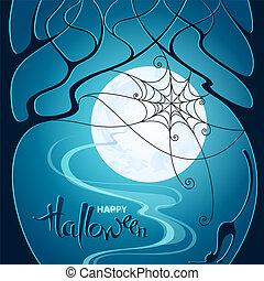 青, 網, ポスター, カード, 木, ハロウィーン, 挨拶, イラスト, ねこ, 暗い, バックグラウンド。, ベクトル, 招待, パーティー, 月, night.