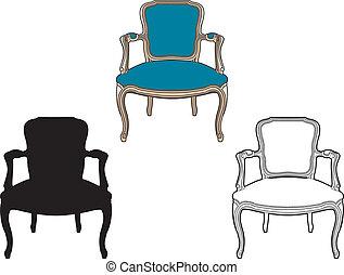 青, 肘掛け椅子, スタイル