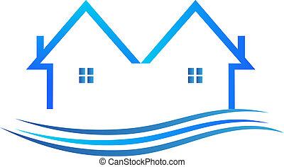 青, 色, ベクトル, ロゴ, 家