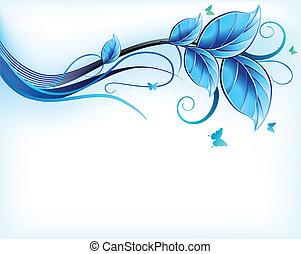 青, 花, ベクトル, バックグラウンド。