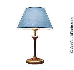 青, 装飾用である, lamp., lampshade., ランプ, ベッドサイド・テーブル