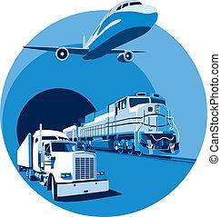 青, 貨物, 交通機関