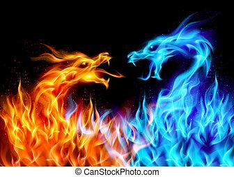 青, 赤, 火, ドラゴン