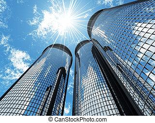 青, 超高層ビル, ライト, 現代, 空, 背景, 高く, 太陽, パッチ