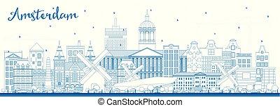 青, 都市, アウトライン, スカイライン, オランダ, アムステルダム, 建物。