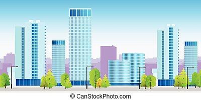 青, 都市, スカイライン, 建物, イラスト, 建築, 都市の景観