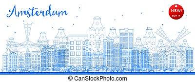 青, 都市, 建物。, スカイライン, アムステルダム, アウトライン