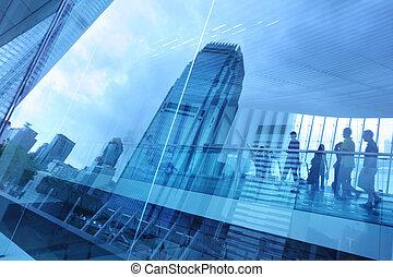 青, 都市, 背景, ガラス