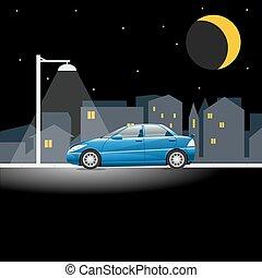 青, 都市, 自動車, 通り, 夜, 空