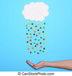 青, 雨が降る, 雲, 平ら, -, に対して, 多彩, 甘いもの, 位置, 背景, 手, 綿