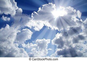 青, 雲, ビーム, 空 ライト, 白