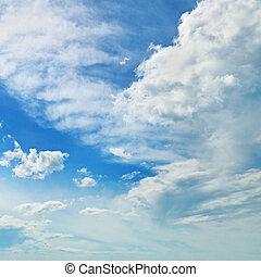 青, 雲, 空, に対して, 積乱雲, 白