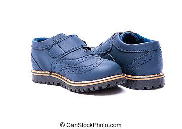 青, 靴, 隔離された, 背景, 赤ん坊, 白