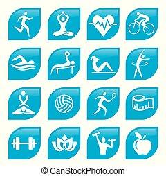青, buttons., スポーツ, フィットネス, アイコン