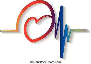 青, cardiogram, ロゴ, ベクトル, 赤
