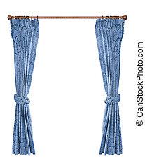 青, curtains.