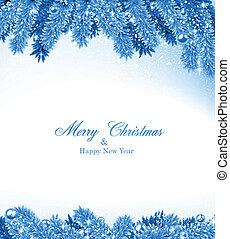 青, frame., クリスマス, モミ