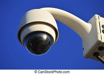 青, hi-tech, 上に, 空のドーム, カメラ, タイプ