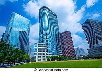 青, houston, 超高層ビル, 空, ダウンタウンに, 鏡, disctict