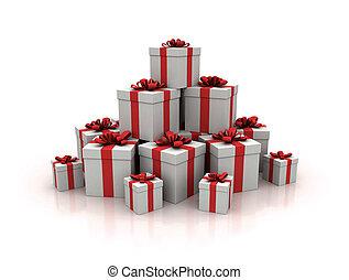 青, render, 贈り物, 高く, 箱, 品質, 山, 3d