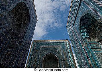青, shahi-zinda, ファサド, ウズベキスタン, samarkand, タイルを張った, necropolis