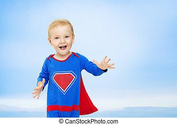 青, superhero, 英雄, 男の子, 子供, 空, 人, 衣装, 背景, 子供, 赤ん坊, スーパーマン, 極度, 幸せ