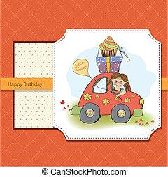 面白い, わずかしか, 誕生日の 女の子, カード