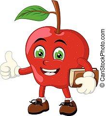 面白い, アップル, 赤, 漫画
