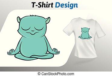 面白い, キツネザル, 瞑想する, の上, 隔離された, tシャツ, バックグラウンド。, ベクトル, 緑, デザイン, 白, print., template., mock, テンプレート