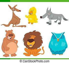 面白い, セット, 動物, 特徴, 漫画