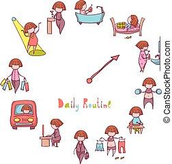 面白い, セット, 毎日, ベクトル, routine., 女の子