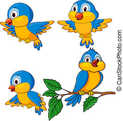 面白い, セット, 鳥, 漫画