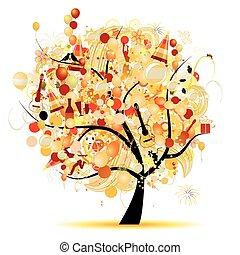 面白い, 木, シンボル, 休日, 祝福, 幸せ