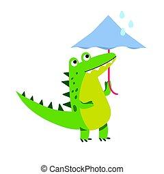 面白い, 歩くこと, 傘, 特徴, イラスト, ワニ, ベクトル, 漫画