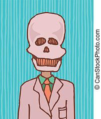 面白い, 死, /, 頭骨, ビジネスマン