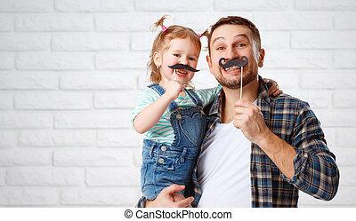 面白い, 父, 口ひげ, 家族, 子供