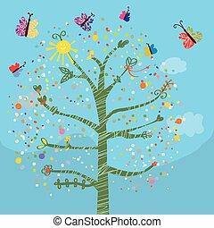 面白い, 蝶, 子供, 木, カード