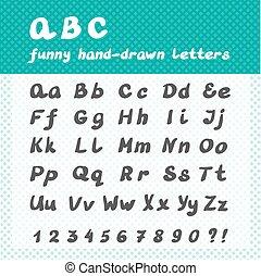 面白い, abc, 手紙, アルファベット, -, 手, 引かれる