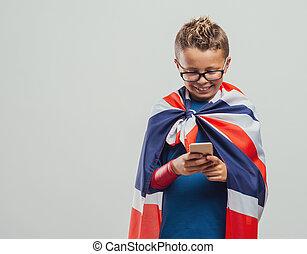 面白い, superhero, イギリス, 電話, 使うこと, 痛みなさい