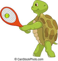 面白い, turtle., player., テニス